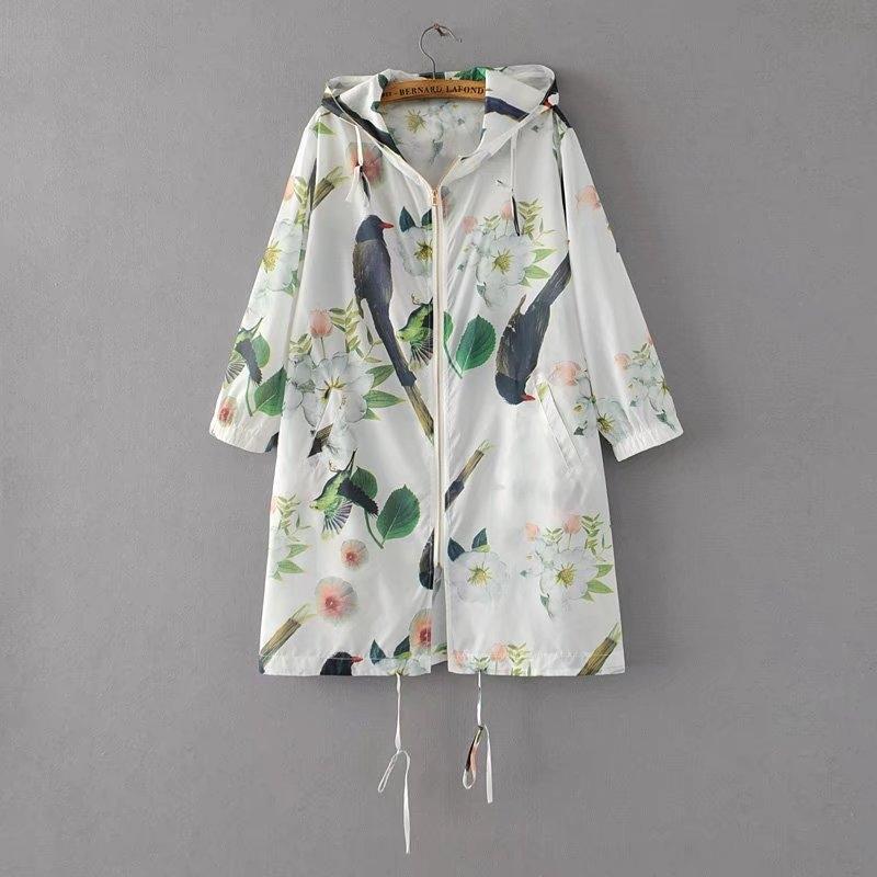 9958 flor de las flores y los pájaros sol de protección de aves protección de la ropa encapuchada D3117 9958 flor de las flores y los pájaros sol impreso pájaro protector solar