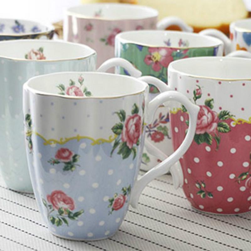 Modern minimalist kraliyet İngiliz bahçesi porselen kahve fincanı küçük taze büyük kapasiteli seramik kahvaltı süt bardağı LB80801