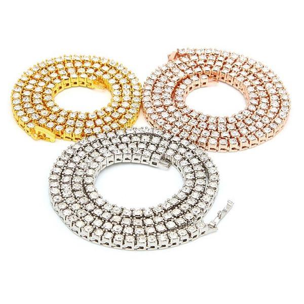 Мужская хип-хоп Bling Bling Iced Out теннис цепи 1 Ряд 3MM / 4мм ожерелья Обильный Обломочный высокого ранга Мужчины цепи Мода ювелирные изделия.