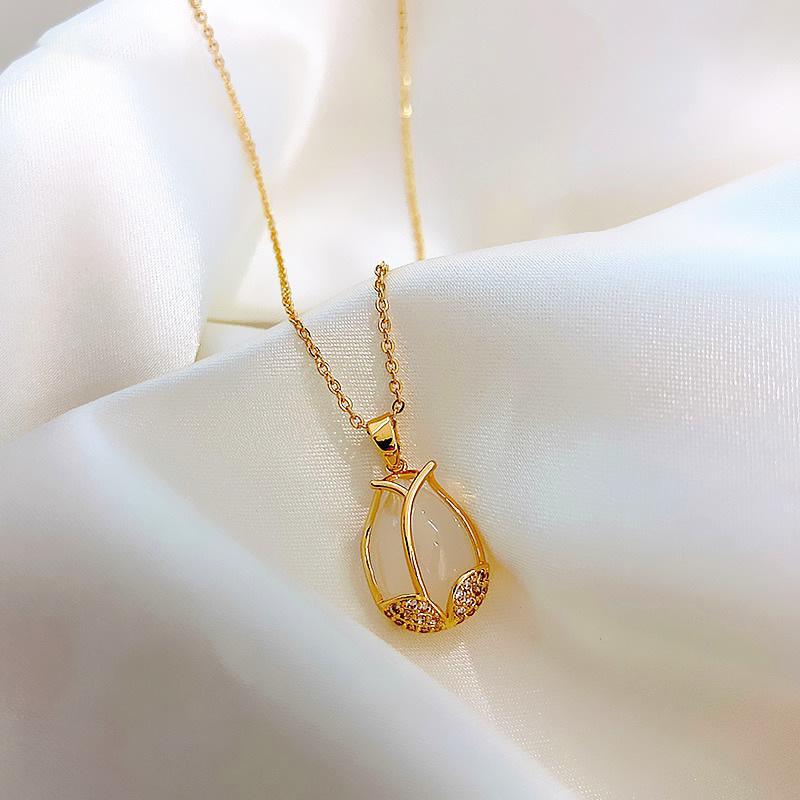 Тюльпан титана стали ожерелье Простой Темперамент Ins холодной Trend Подвеска Ниша ключицы цепи Личность Мода ювелирные изделия
