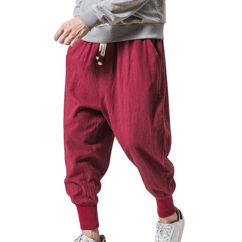Litthing Hip-hop, Kadınlar Plus Size Geniş Bacak Pantolon Casual Vintage Uzun Pantolon Pantalones Hombre Baghee Pamuk Keten Harem Pantolon