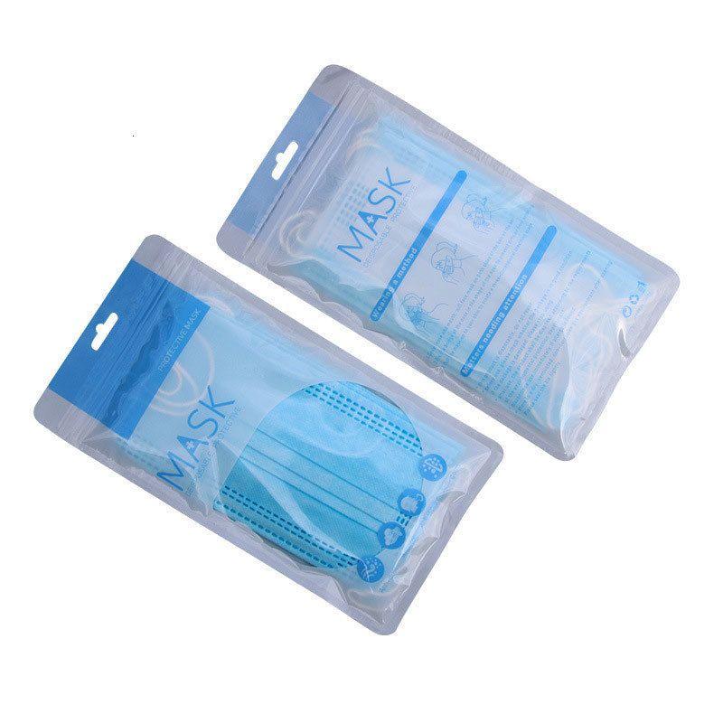 Ну синий цвет Stock Качества Одноразовой Юниверсал маски самоклеющейся Пластиковые Ziplock сумка для Mouth маски Упаковки Сумки