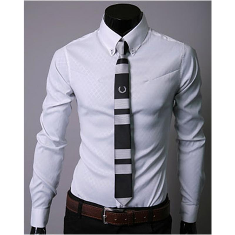 Homme d'affaires formelles Chemises à manches longues Hauts turn-down col de haute qualité vêtements pour hommes usage de bureau coréen style Slim Shirt 2020
