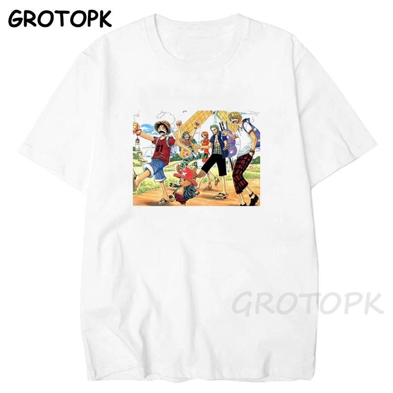 Yaz Tek Parça Büyük Boy Tişörtlü Erkekler Kadınlar Japon Anime Luffy Pamuk Tişört Erkek / kadın Casual Unisex En Tees Tee Gömlek Loose