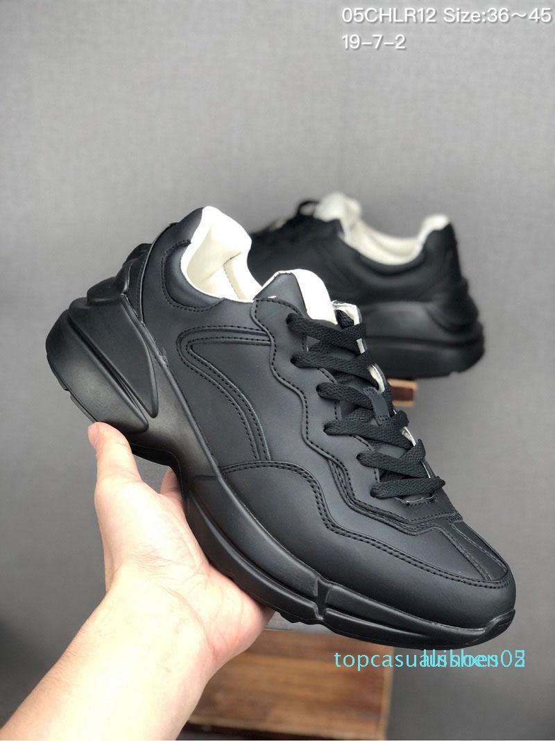 Nuovi sneaker in pelle Rhyton mens scarpe firmate con la fragola onda bocca Tiger lusso di stampa d'epoca Trainer donne del progettista Scarpe 1 T05