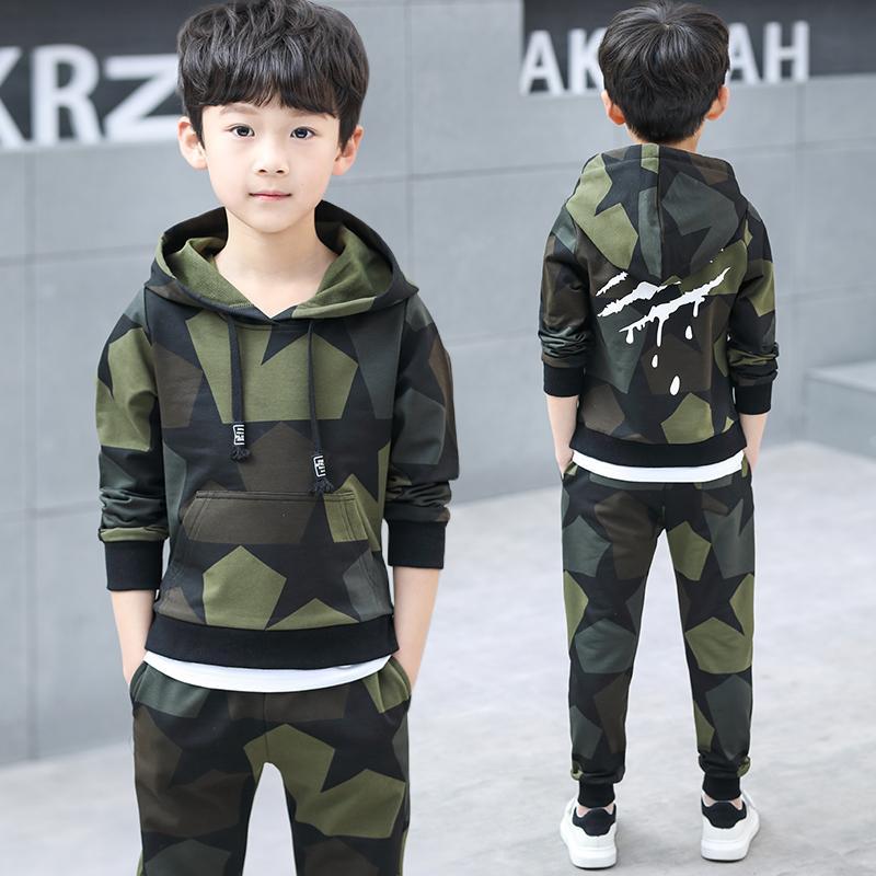 Meninos Roupa adolescente Set Crianças Treino Camouflage Costume Hoodies Tops Calças Crianças Vestuário Meninos Outfits 4 6 8 9 10 12 14 anos