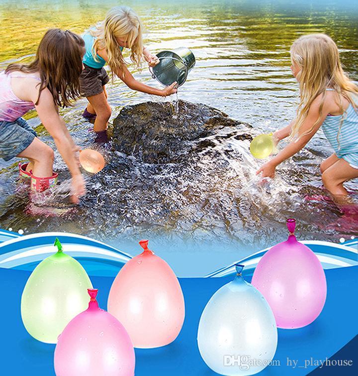111pcs / set été coloré eau Ballon enfants Fête de plage Jouets de plein air Bombe ballon d'eau Jeu de Tir Enfants Nouveauté Cadeaux de bâillon