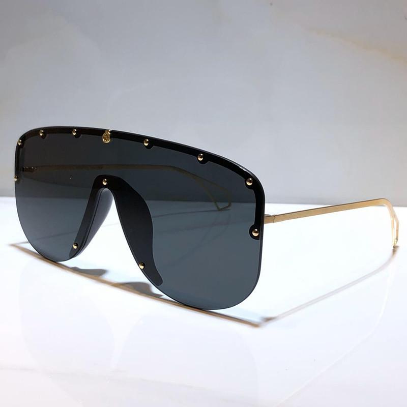 Lunettes de soleil de qualité de la mode Nouvelle marque populaire Lentilles connectées de la taille de la concepteur Grand cadre avec de petits rivets Masque Masque Top Lunettes de soleil Goggle 2020 H Okbj