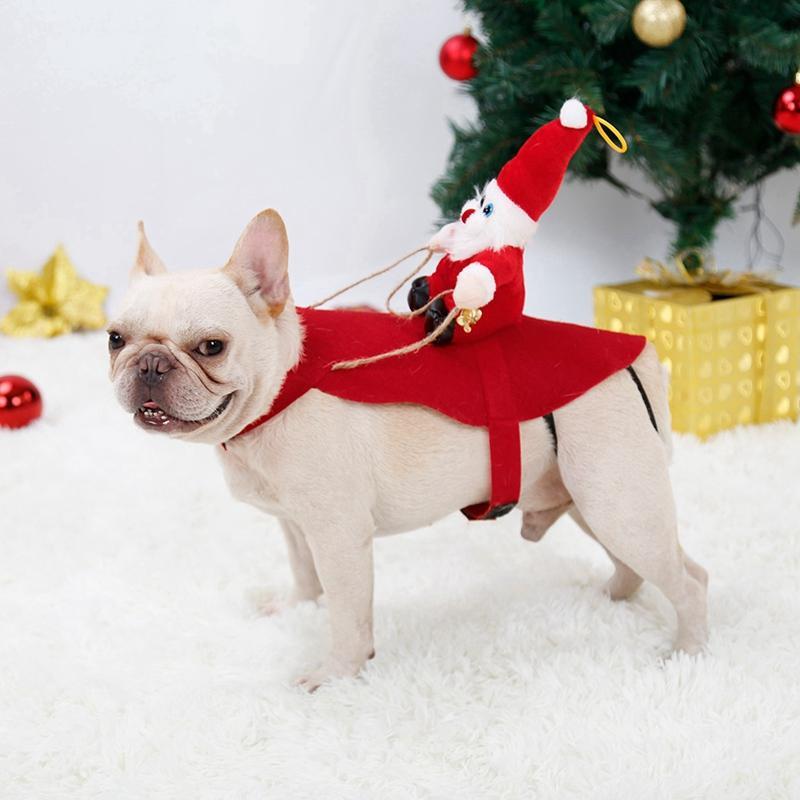 Weihnachten Hund und Katze Kostüme Lustige Weihnachtsmann-Kostüm für DogsCats Winter warme Hundekleidung-Haustier Cosplay Dress up Kleidung