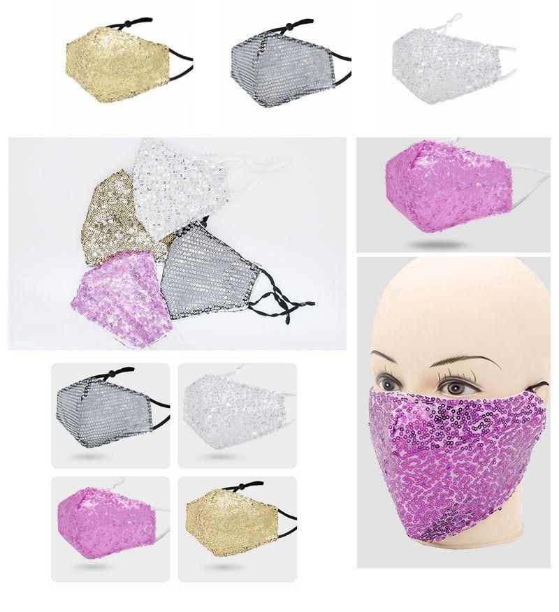 Bling 3D lavable reutilizable Máscara Escudo cuidado de la cara del oro del codo lentejuelas brillantes cubierta de la cara de montaje máscaras anti-polvo Boca Máscara BWD916