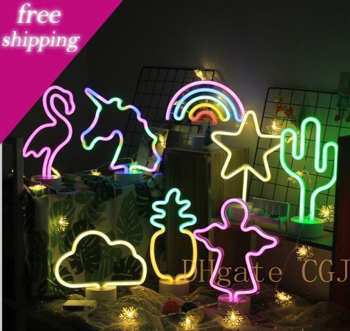 2019 Nacht Usb Led Neon Abajur Nachtlicht-Tabellen-Nachttischlampe Flamingo Angel Heart Batteriebetriebene Für Privatanwender Hochzeit Weihnachtsdekoration 2019