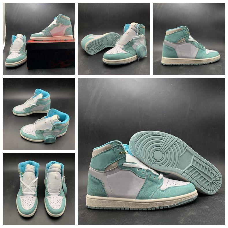 Erkekler Moda Sneakers Aletleri için yeni 2020 Turbo Yeşil Üst Süet Jumpman 1s Yüksek Turbo Yeşil Basketbol Ayakkabıları