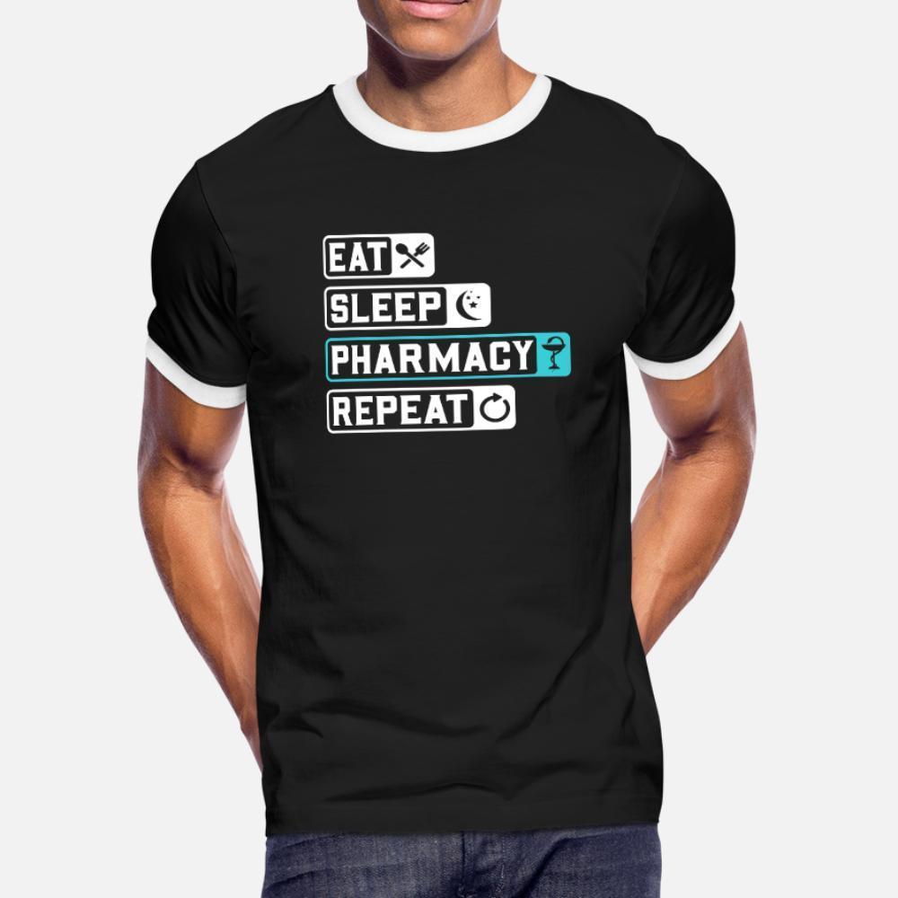 Coma a farmácia do sono Repita Farmacêutico Técnico camiseta homens criam tripulação manga curta Neck Formal camisa Interessante Humor Letter