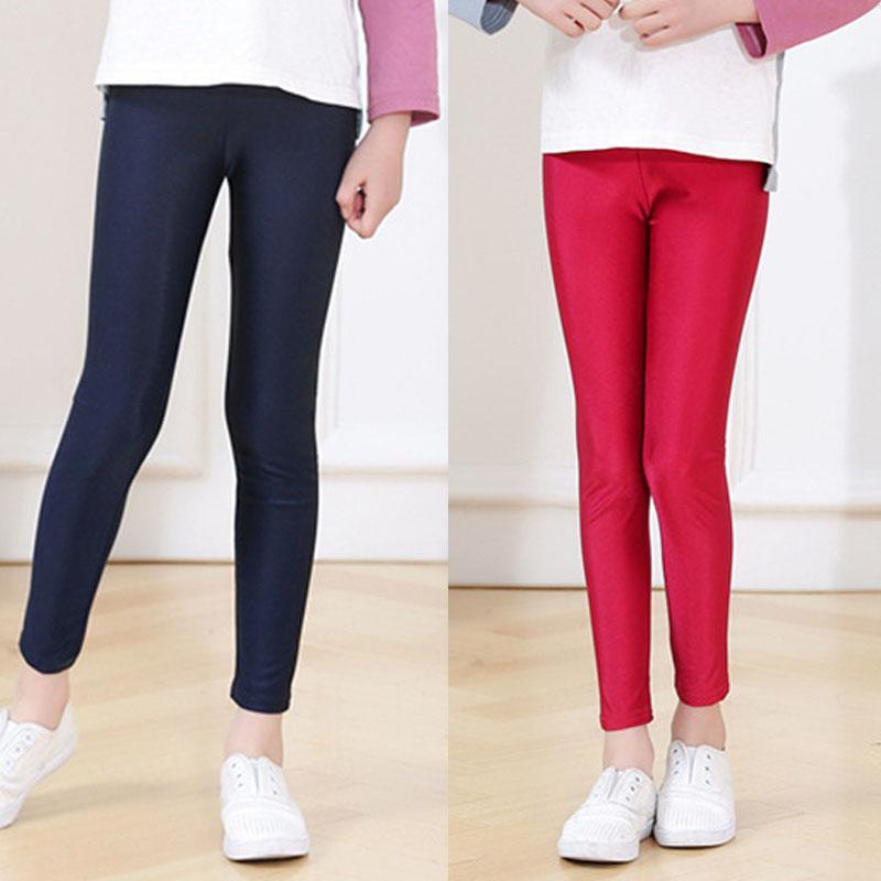 Pantalones chica polainas elásticas flacas Infantil de primavera y verano para niños pequeños Lustre delgadas Pantalones Leggins para los adolescentes de chicas para niños
