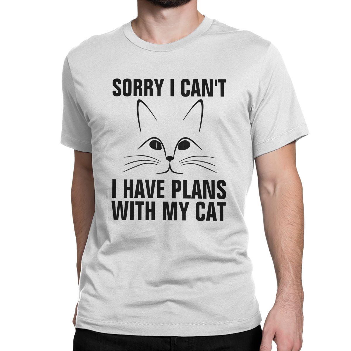 En este momento no puedo camiseta Tengo planes con mi gato Hombres camiseta divertida manga corta cuello redondo Camisetas 100% algodón idea de regalo Tops