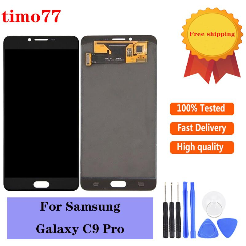Super AMOLED For Samsung Galaxy C9 Pro C9000 White Black LCD Display Replacement Touch Screen Digitizer Assembly free DHL
