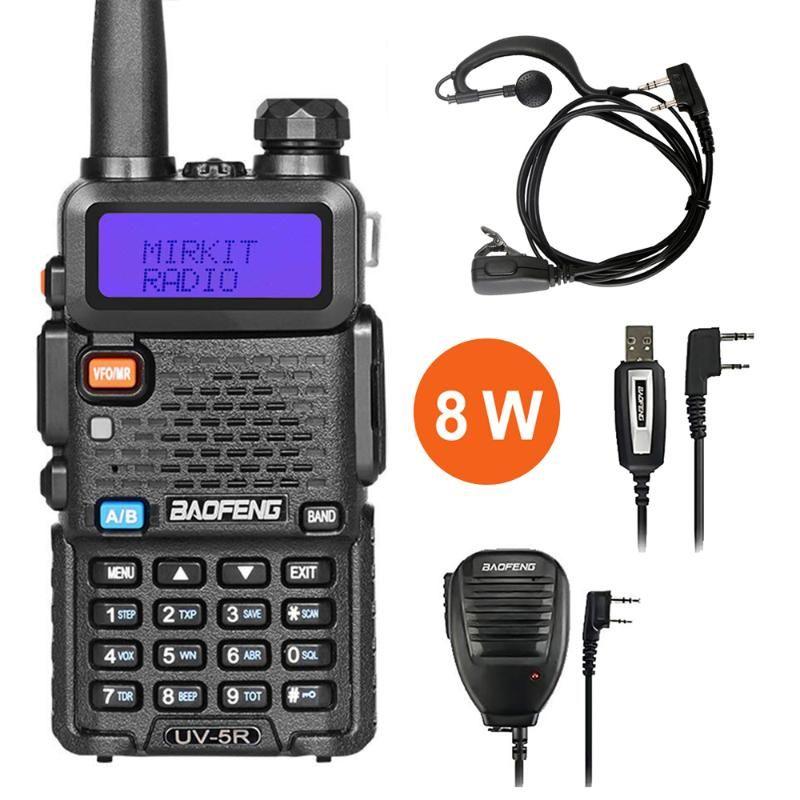Baofeng UV5R 8W True High Powerful Two Way Radio Walkie Talkie CB Ham Rádio Portátil 10 km Long Range UV5R 8 Watts Hunting