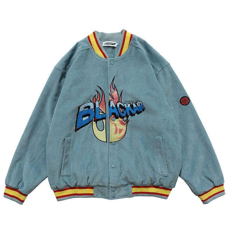 Mens Corduroy Bomber Jackets Vintage Harajuku Letter Embroidery Baseball Jacket 2020 Autumn Unisex Oversized V-neck Streetwear