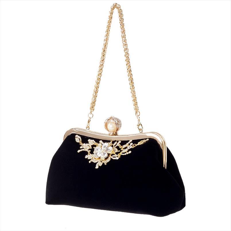 Borse da sera femminile della perla del diamante borsa Fiore di cristallo dell'annata del sacchetto di sera sposa della festa nuziale del sacchetto di frizione Borsetta nera