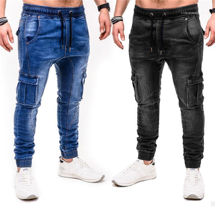 Mens Katı Renk Jeans Gevşek Düşük Bel İpli ile Pocket Kalem Pantolon Yıkanmış Pantolon Homme