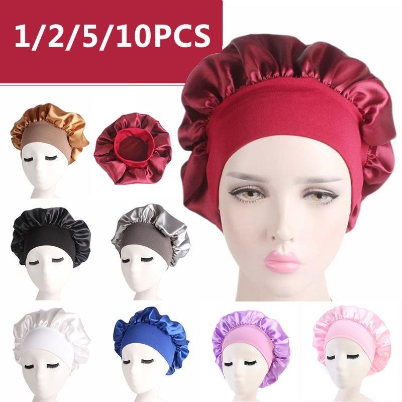 20pcs 58cm Katı Renk Uzun Saç Bakımı Kadın Saten Bonnet Cap Gece Uyku Şapka İpek Kafa Wrap Duş Caps ayarlayın