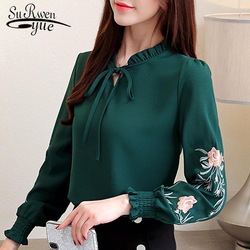 donne più di formato top ricamo floreale chiffon camicetta di modo camicia delle donne top e camicette 2020 Maglia a manica lunga della camicia 1645 50 CX200819