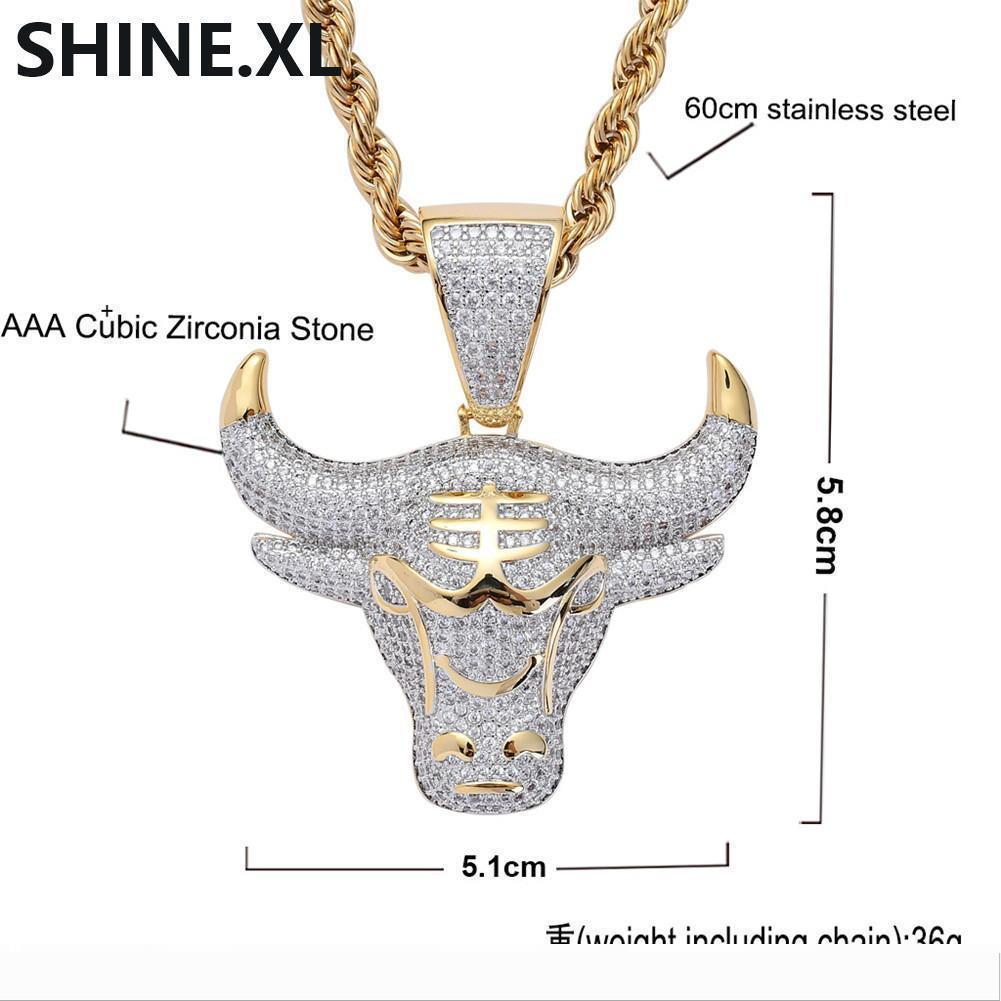 Designer Iced Out Gold Plated Cow Head Pendant Necklace Micro Paved Zircon Come with Rope Chain Men Jew