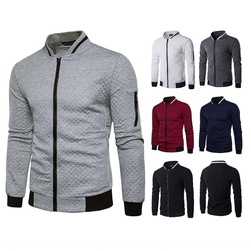3jRTF Otoño Invierno reposar nuevo jersey de la capa de la cremallera del collar color de rombo de la cremallera de los hombres y contrastar J26 informal suéter capa
