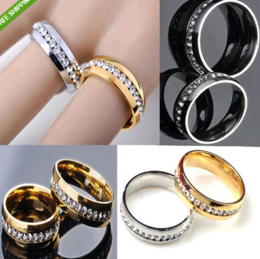 30 unids dorado plata circón cómodo acero inoxidable anillos al por mayor lote