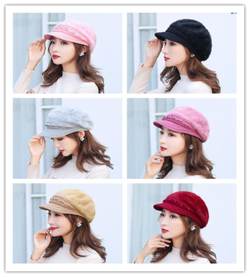 Hat ladies fashion to keep warm in winter and earmuffs wool rabbit hair wool beret knitting hat older the cold winter