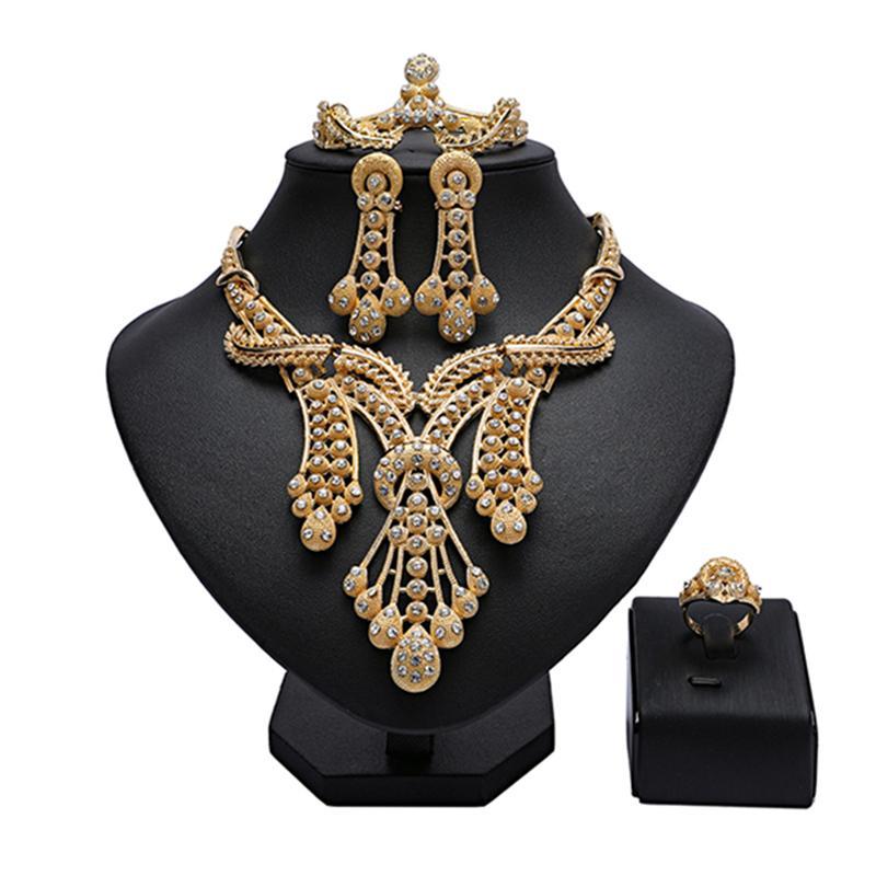 Regalo de novia nigeriana joyería mujer de la boda joyería Set 2020 Traje de Mujer de africanas de oro al por mayor de moda de Dubai