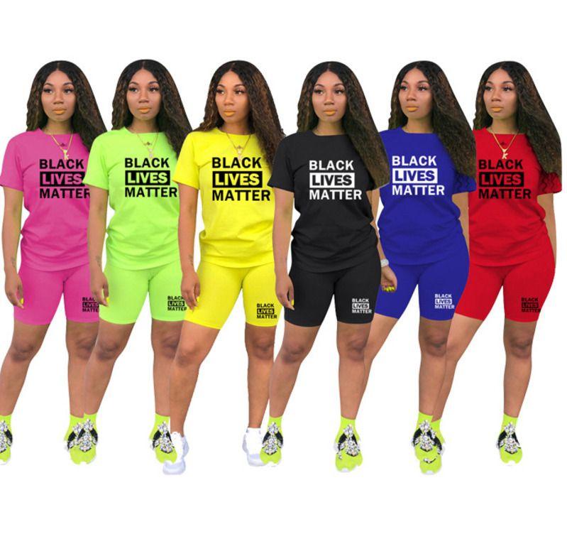 Été Designer Femmes 2 pièces courtes Vêtements Ensembles Survêtement Casual manches courtes T-shirt Biker Shorts Costumes Pantalons Vêtements de sport