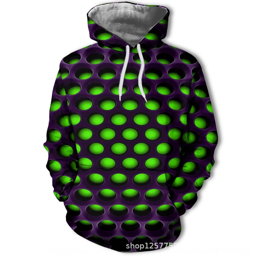 eDe2p Spring and Autumn 3D printing sweater digital Digital green grid pattern men's fashion sweater