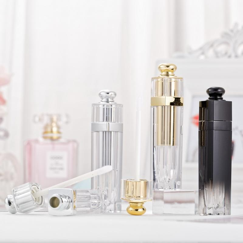 5мл Очистить Empty Lip Gloss Tubes Градиенты цвета Упаковка из пластика бутылки Lipgloss контейнеры с завинчивающейся пробкой Золото Серебро Cosmetic Инструмент 2 2xma B2
