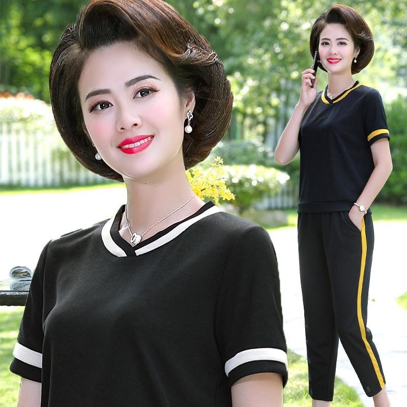 9qCZq Büyük boy kadın orta yaşlı 2020 Yaz yeni moda tişört elbise kadın kısa kollu spor tişört spor gündelik tw VAYyB