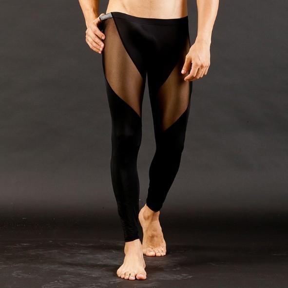 Мужская модная осень низкой талии сексуальный сетки дышащие узкие брюки сетки ручки света узкие брюки стиль