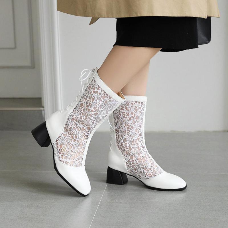 Sommer-Stiefel Damen runde Zehe schnüren sich oben Frauen Ankle Boots PU-Leder Solide Grund Büro Schuhe Botas Weiblich Booties Größe 47