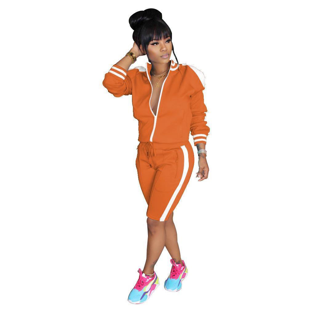 흰색 줄무늬 스플 라이스 두 조각 세트 트랙 슈트 여성용 프론트 지퍼 긴 소매 재킷 탑 무릎 길이 조깅 바지 캐주얼 복장 Bodysuit