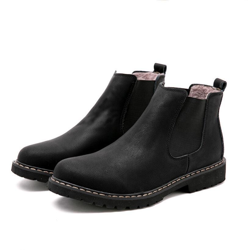 Más el tamaño 38-45 de diseñador para hombre de los zapatos de cuero del invierno Negro calzado caliente piel de la felpa para los hombres 8Z-610 CU02