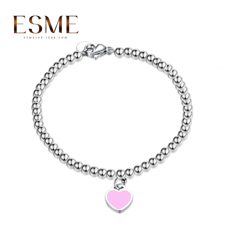 Celebrity Internet 925 silver-plated braccialetto famiglia T amore smalto cuore della pesca di Blue Buddha perline braccialetto