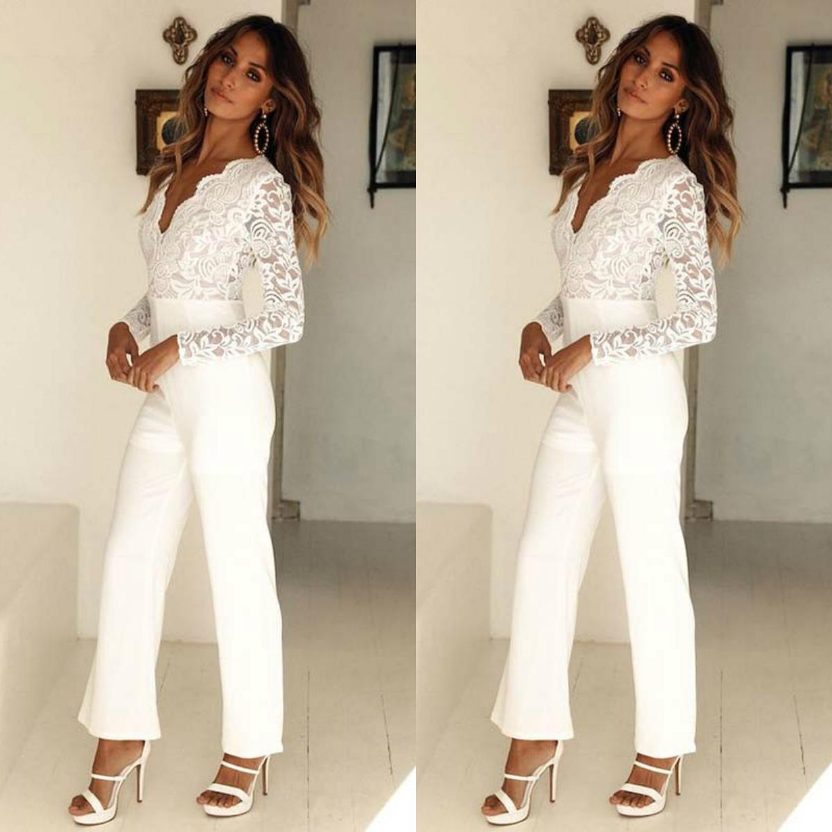 Boho Beach Jumpsuits 2021 Wedding Dresses Lace Satin Plus Size Bridal Gowns Pants Party Dress Vestidos De Novia L44