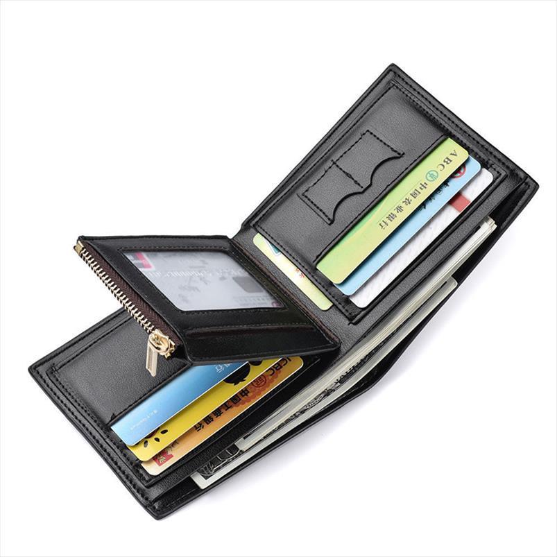 POCKET MENS Portefeuille Coin Court Credit Titulaire Carte avec portefeuille en cuir PU Nouveau niveau supérieur et fermeture à glissière WIRXR