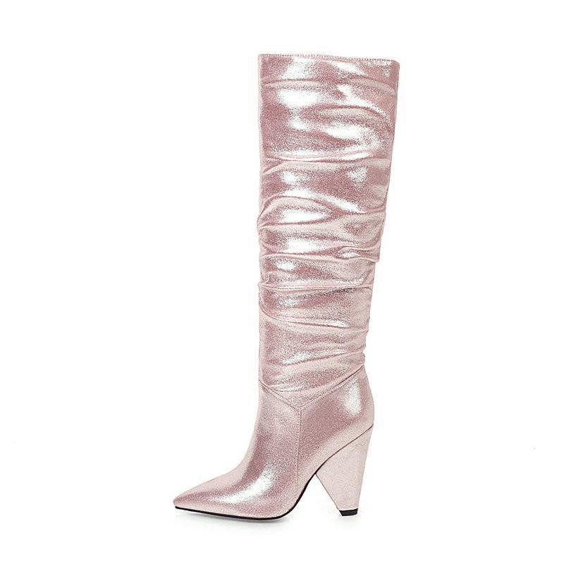Empoté Femmes Cuissardes haut rose bleu noir or argent bout pointu à talons longues bottes Femme Chaussures femme Automne