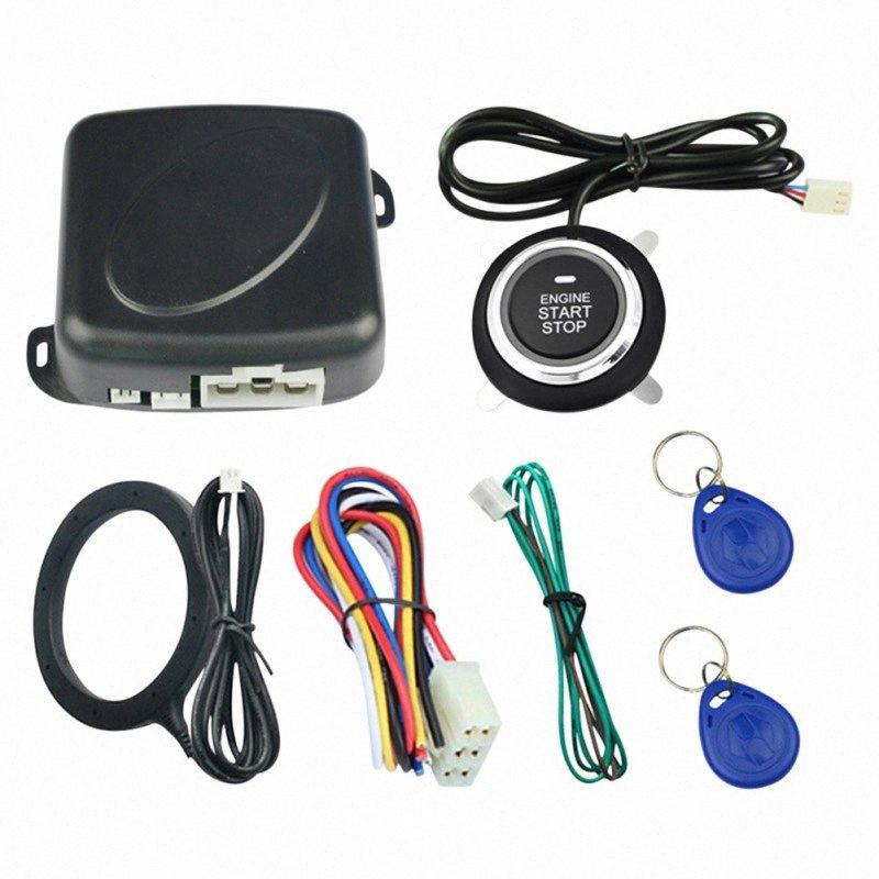 Auto Car Alarm One Start Stop Engine Starline Push Button RFID Lock Ignition Switch Keyless Entry Starter Anti-theft Alarm HRM4#