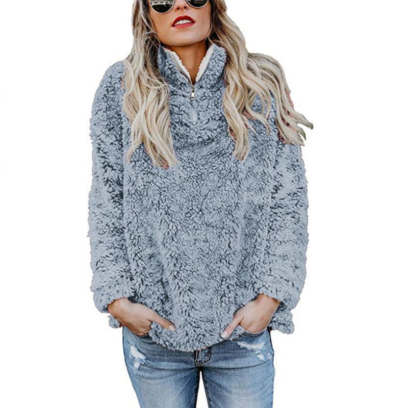 Ropa de mujer de manga larga de cuello alto sudaderas Cremalleras franela de grueso suéter capas del invierno del otoño Casual Mantener Caliente tapas de las mujeres