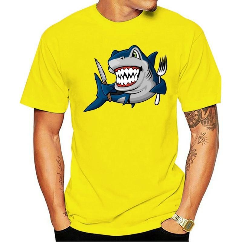 Новый список Мужчины T-Shirt Смешные акулы Мультфильм Tee рубашка Мода Черный Синий Топы с коротким рукавом Личность Выборочная одежды