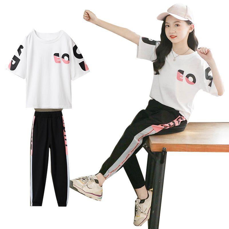 2020 de verano para niños Ropa de niñas adolescente niños de la manga corta de la camiseta + polainas Conjunto de dibujos animados para niños 4 7 8 10 11 12 años