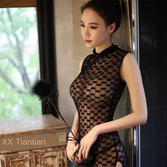 vestido de la bandera de encaje ropa interior sexy coqueta cheongsam atractivo clásica perspectiva de rocío uniforme de la tentación de la ropa interior de encaje cheongsam 0Pveb