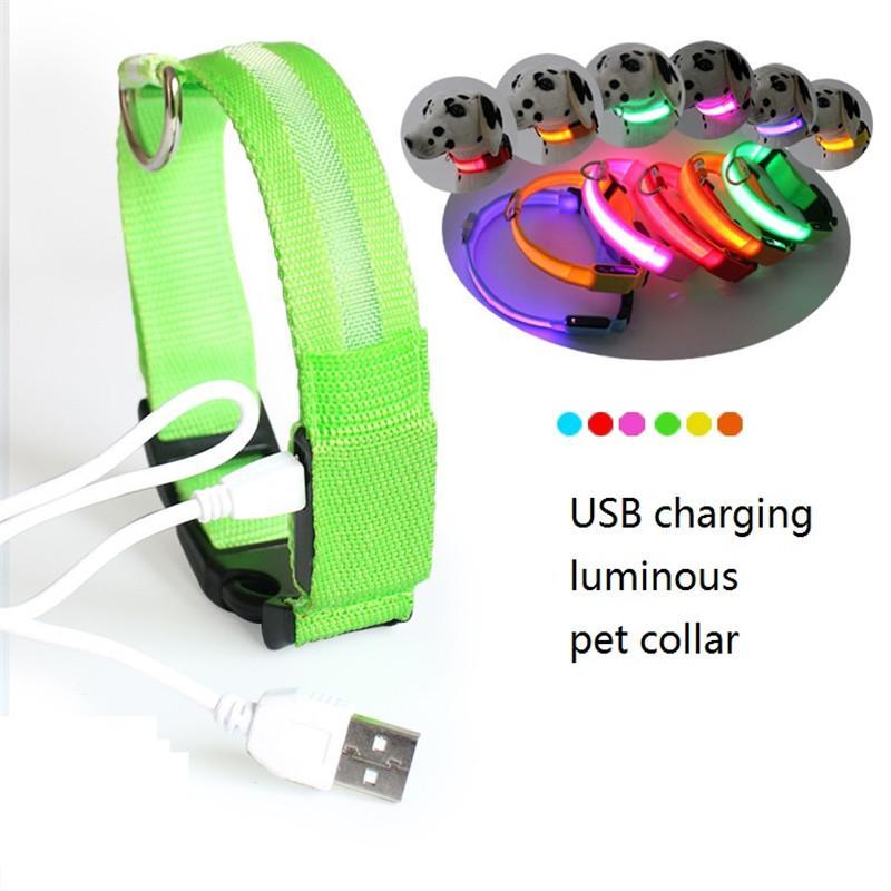 Collar USB LED Coleira de cão LED recarregável Collar Noite Segurança Flashing filhote de cachorro de nylon com cabo USB DWC2361 carregamento