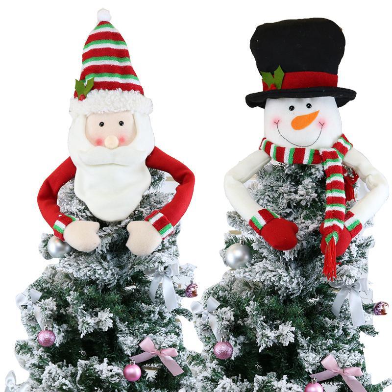 Gran árbol de Navidad Topper Decoración Santa Snowman Reindeer Hugger Navidad Holiday Invierno Fiesta Ornamento Suministros LJJA1258